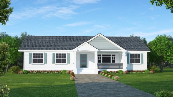 front elevation Hardie left horizontal right board batten all white